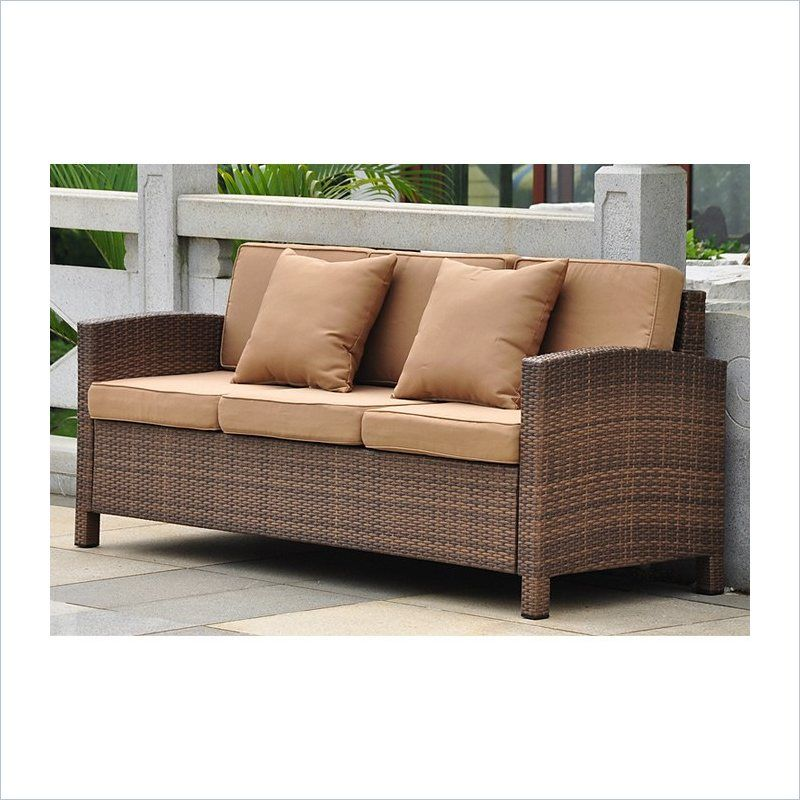 International Caravan Barcelona Sofa With Cushions In Antique Brown Patio Sofa Sofa Outdoor Sofa