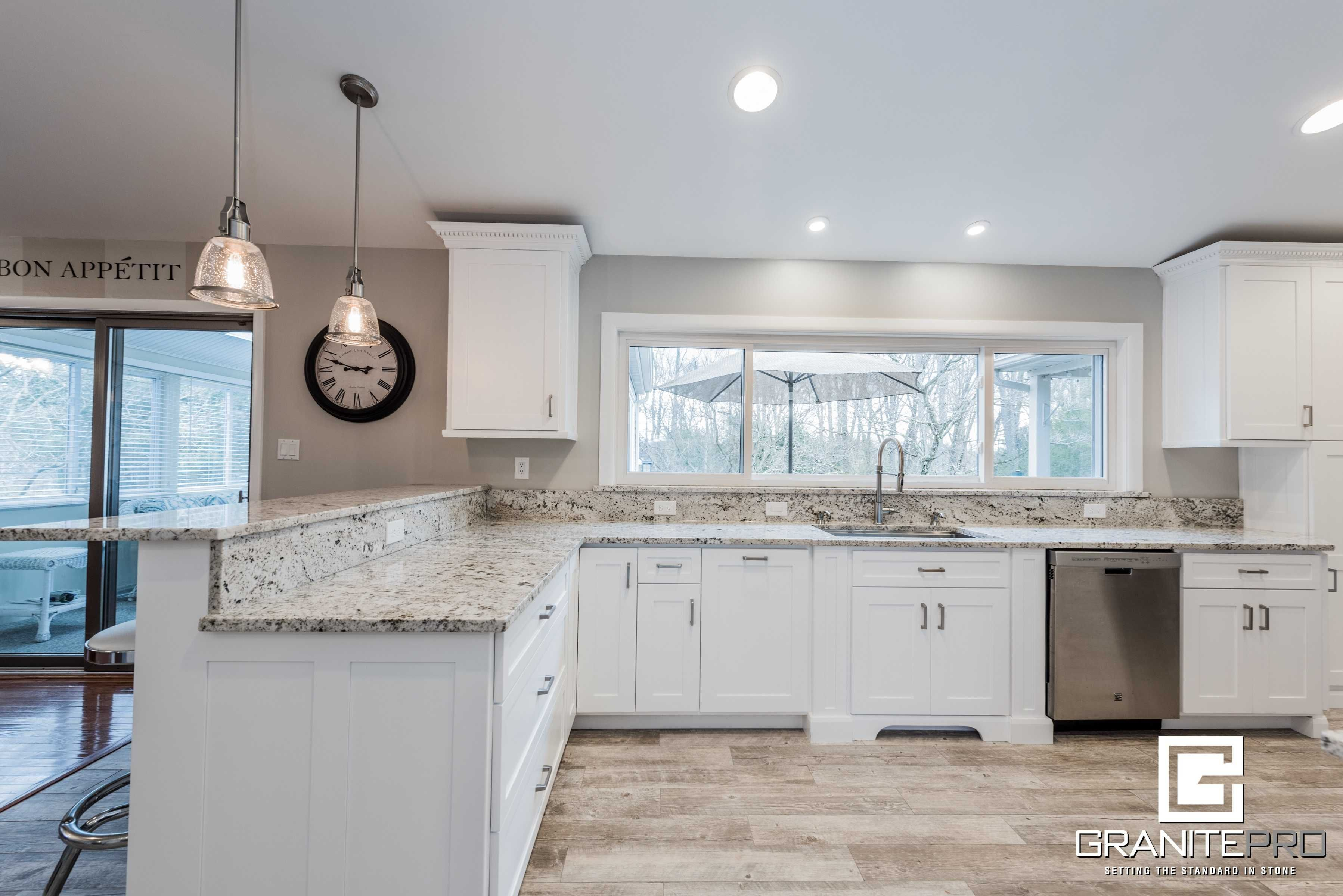 Biscotti White Example Granite Countertops Kitchen White