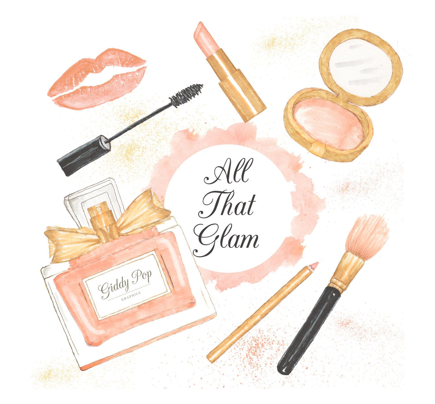 watercolor makeup clipart cosmetic clipart fashion clipart pink rh pinterest com