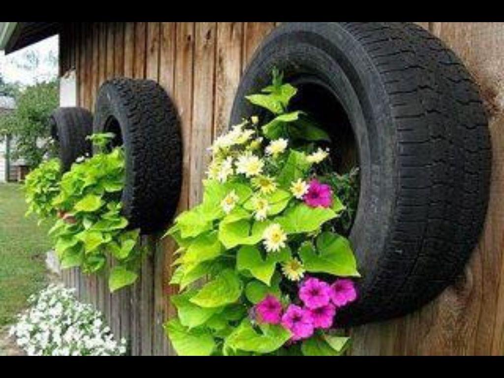 Tire Flower Pots With Images Tire Garden Diy Garden Tire