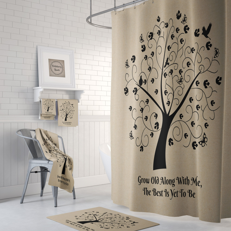 Shower Curtain Tree Of Life Farmhouse Chic Bath Mat Bath