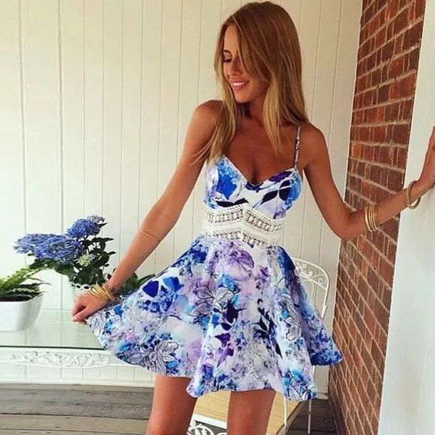 blonde, casual, cute, dress, fashion, floral, floral dress ...