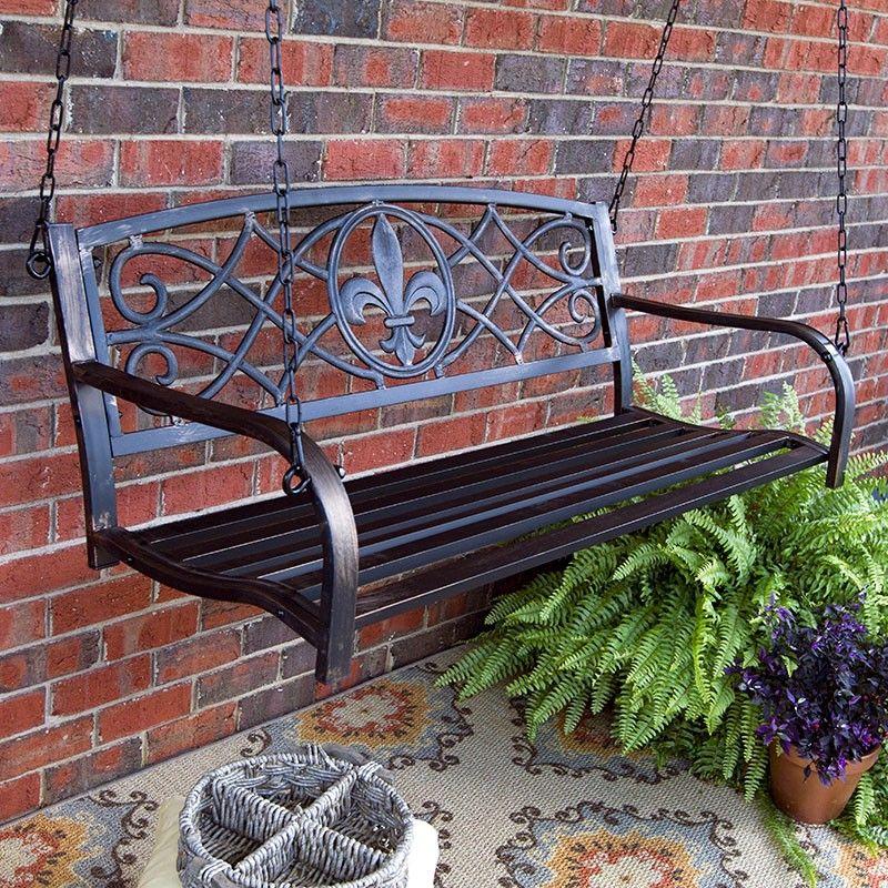 Porchgate Fleur De Lis 4ft Metal Porch Swing Porch Swings