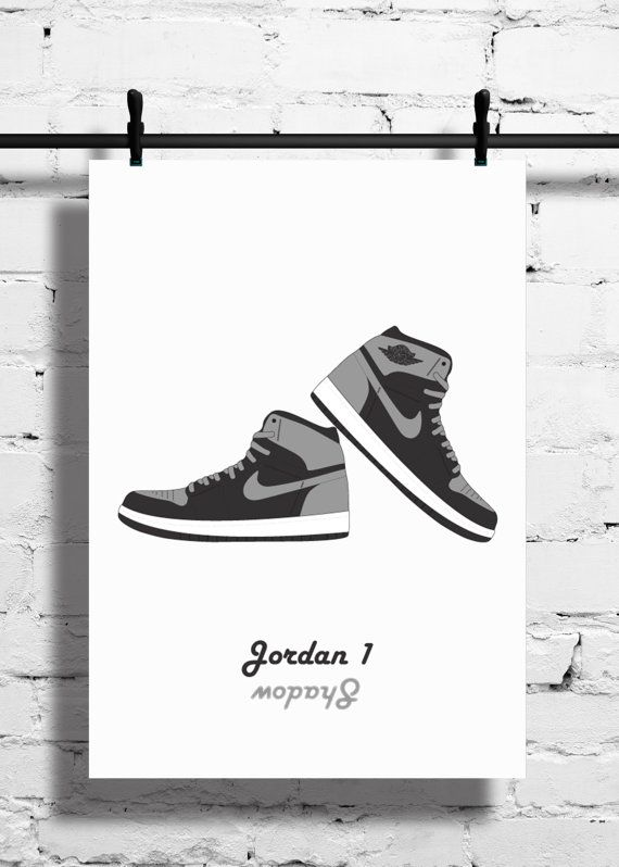 7a6c5e5b1f7a4 Nike Air Jordan 1 Shadow Poster 1985 by SneakerheadArtwork | Bar ...