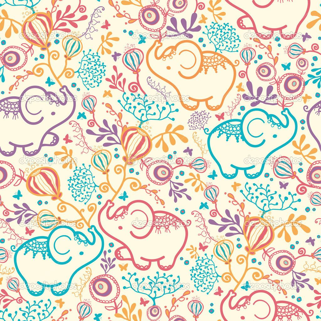 038a0f66bb25 Elephants With Flowers Seamless Pattern Background — Stock Vector ...