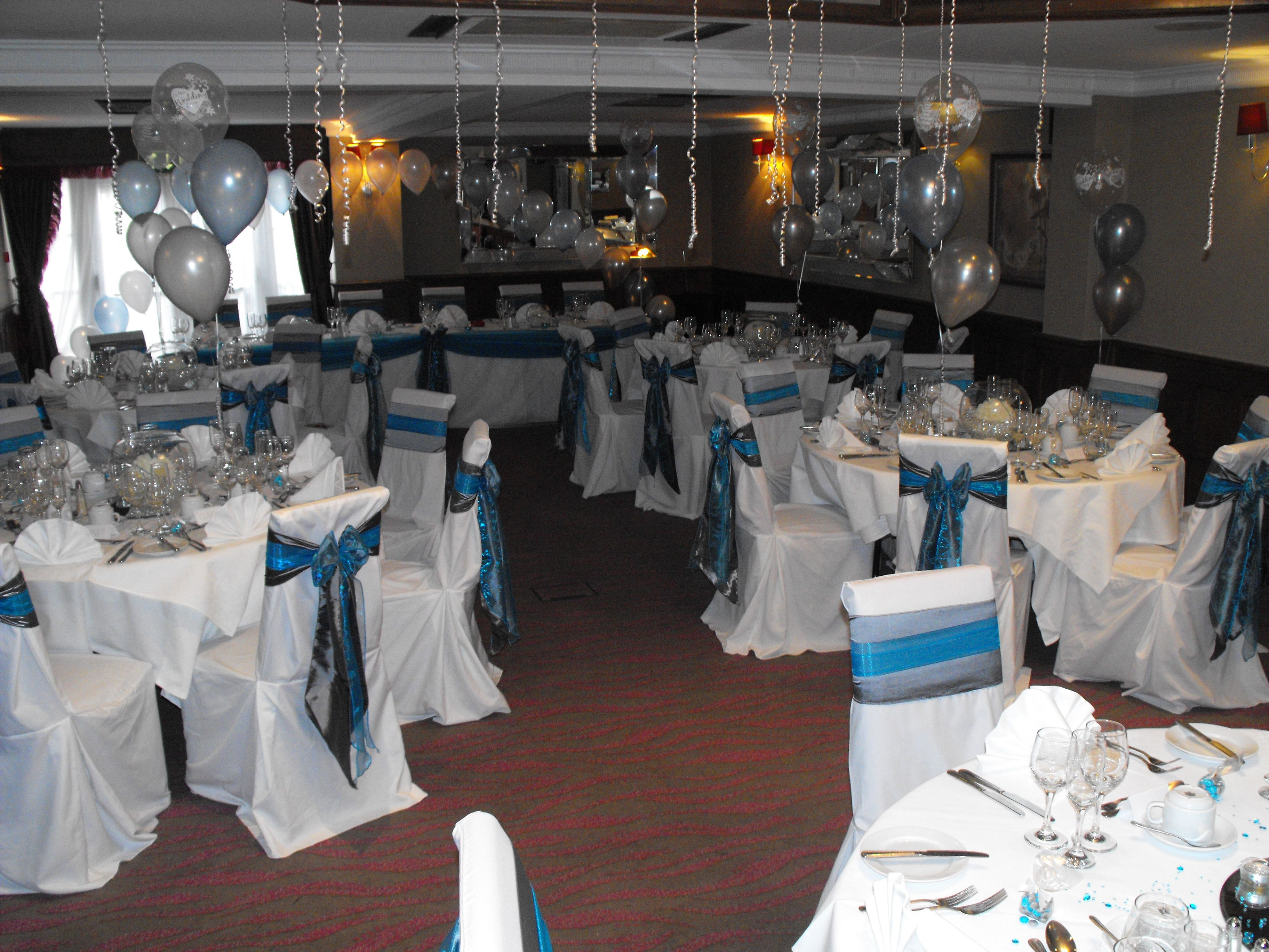 teal chair covers for wedding office mats double organza and silver satin sashes on white