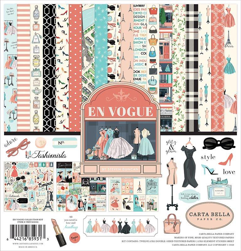 """ECHO PARK PAPER En Vogue Collection Kit*12/""""x12/"""" Scrapbook Paper Papercrafts DIY"""