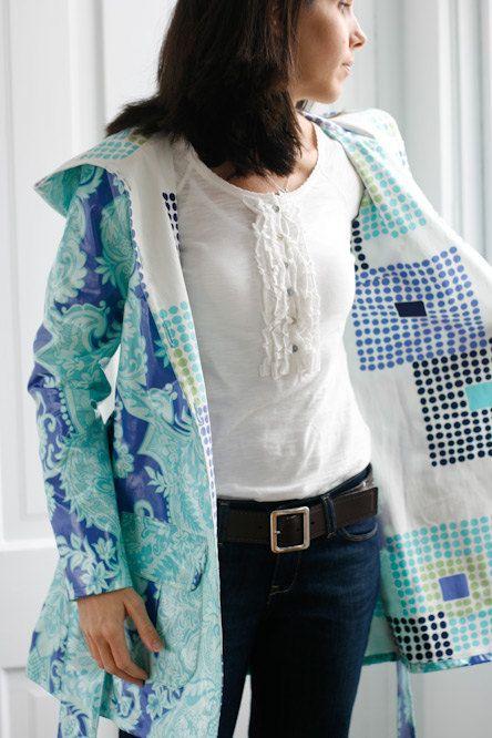 Rain Coat pattern Amy Butler rainy days hooded raincoat free shipping with fabric. $13.50, via Etsy.