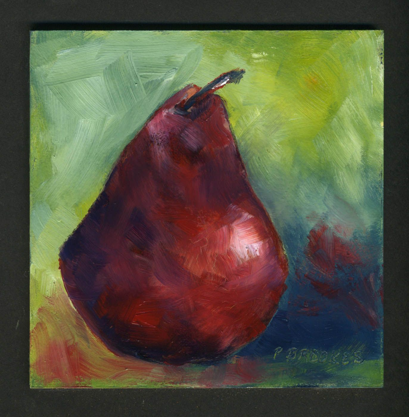 red pear 4x4 oil on board. Framed as 8x8!   $75.sold