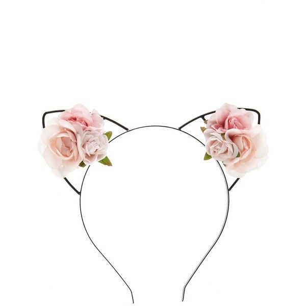 Forever21 Roses Cat Ear Headband ($4.90) Liked On Polyvore