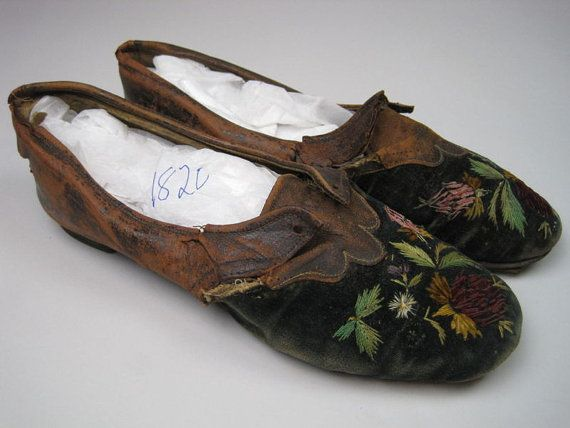 Georgian men's embroidered slippers c1820 - brown leather and navy blue velvet. Hand embroidered.