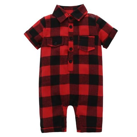 f0f48e1c8279 gentleman style newborn 2018 baby boy short sleeves one piece red and black  plaid romper summer baby clothes