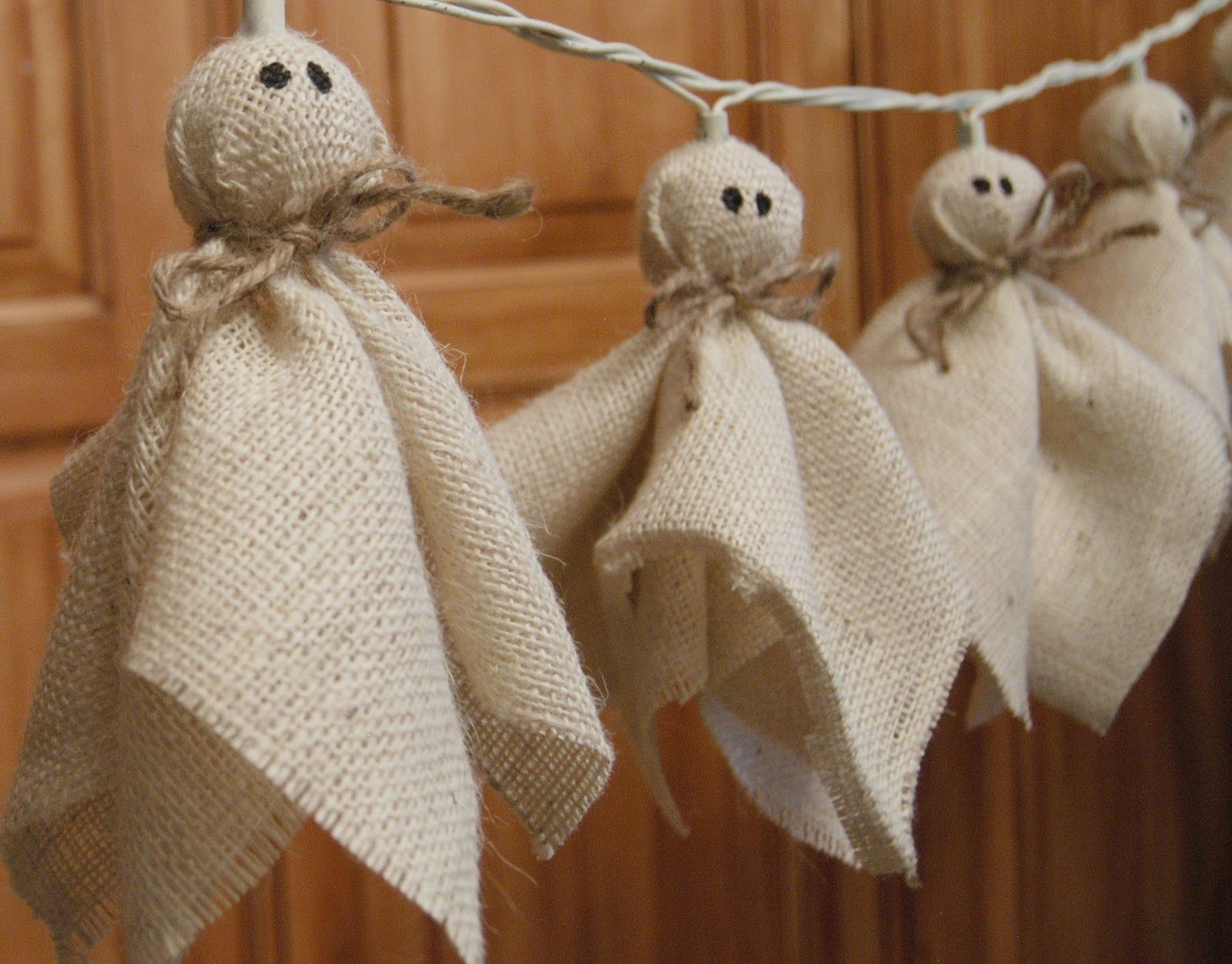 DIY Burton Avenue Burlap Ghost Lights {PB Knock-Off} ~ using clear - Halloween Ghost Decorations