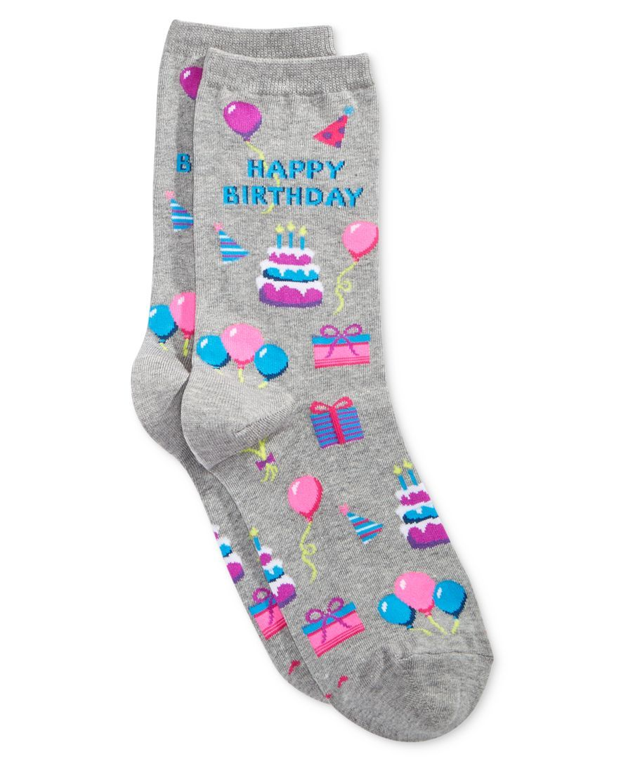 Let your feet have all the fun with this fabulous pair of celebratory happy birthday socks from Hot Sox. | Cotton/polyester/nylon/spandex | Machine washable | Imported | Happy birthday design | One si