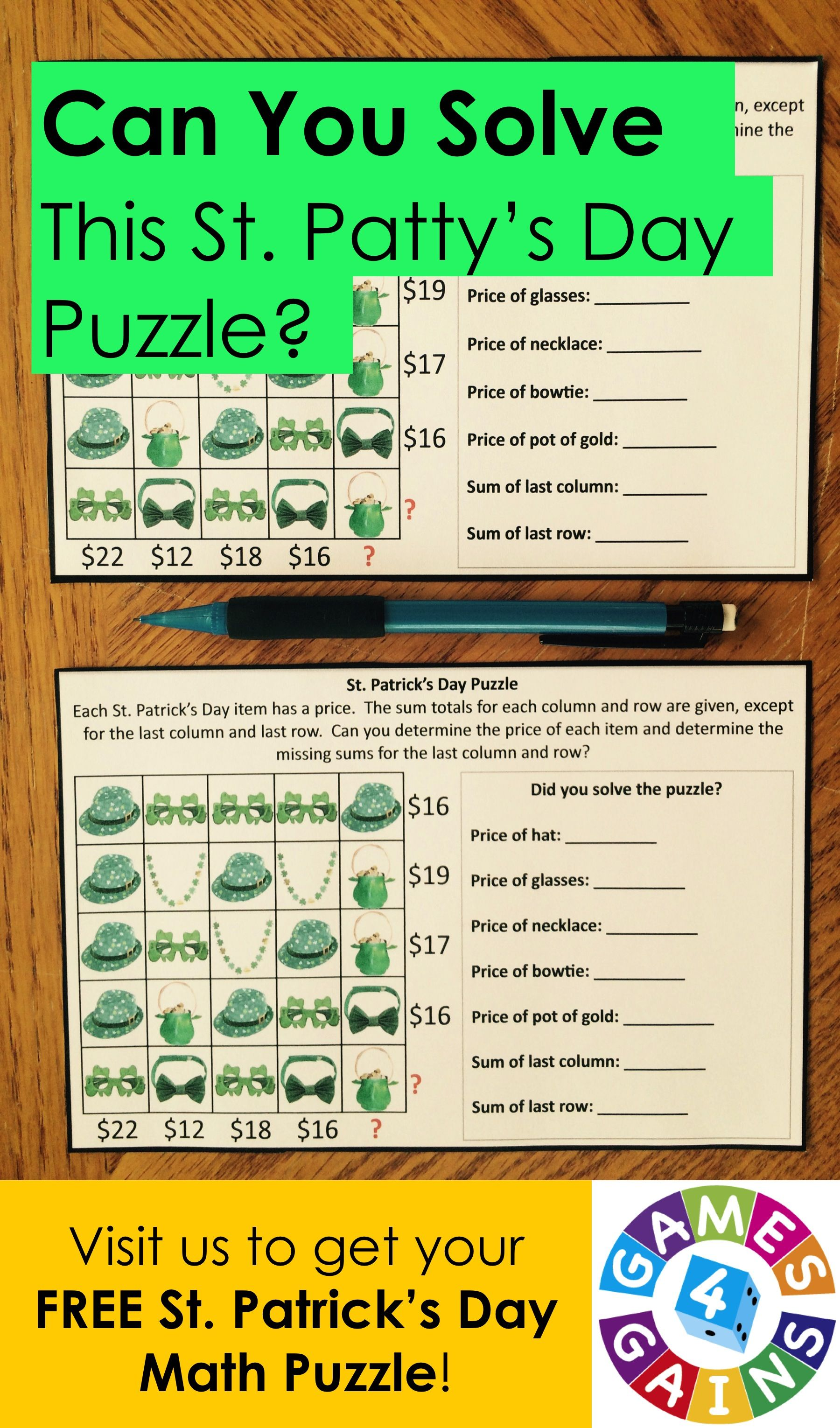 A St Patrick S Day Math Puzzle