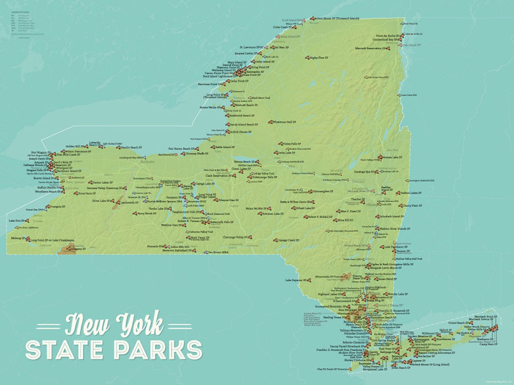New York State Parks Map 18x24 Poster Etsy State Parks Us National Parks Map New York State Parks