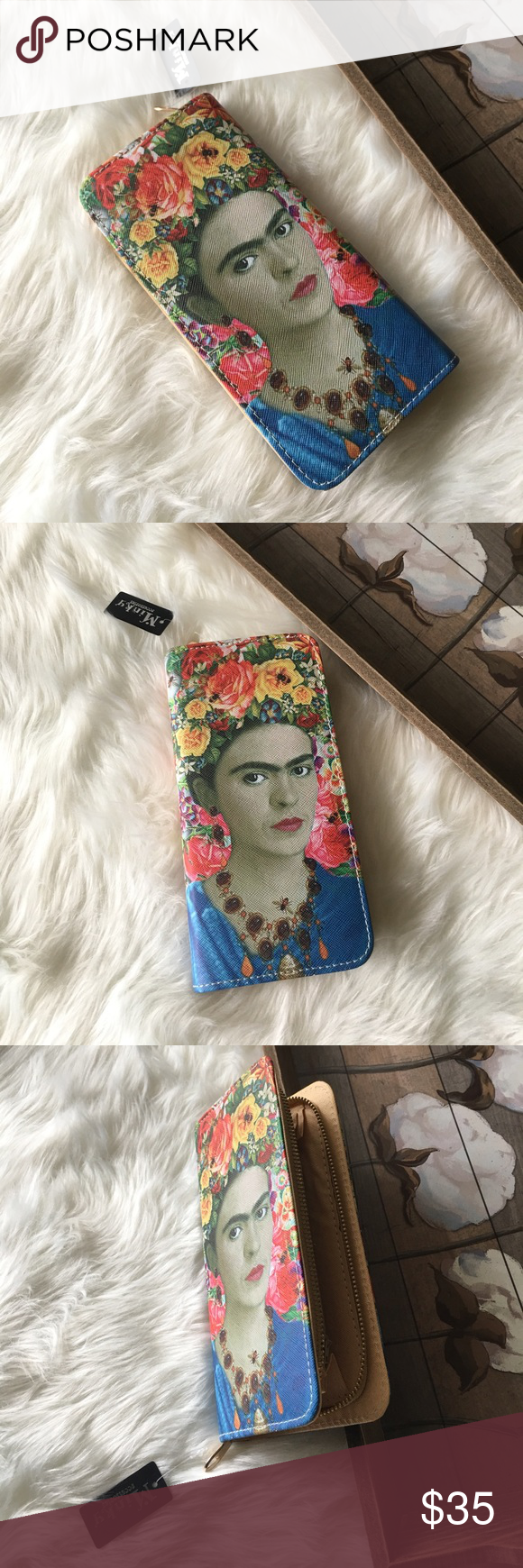 Frida Kahlo Portrait Bee Wallet Lovely Frida Kahlo bee Portrait Wallet in excellent brand new with tags condition. Super chic and stylish! Perfect for all occasions! Boutique Bags Wallets