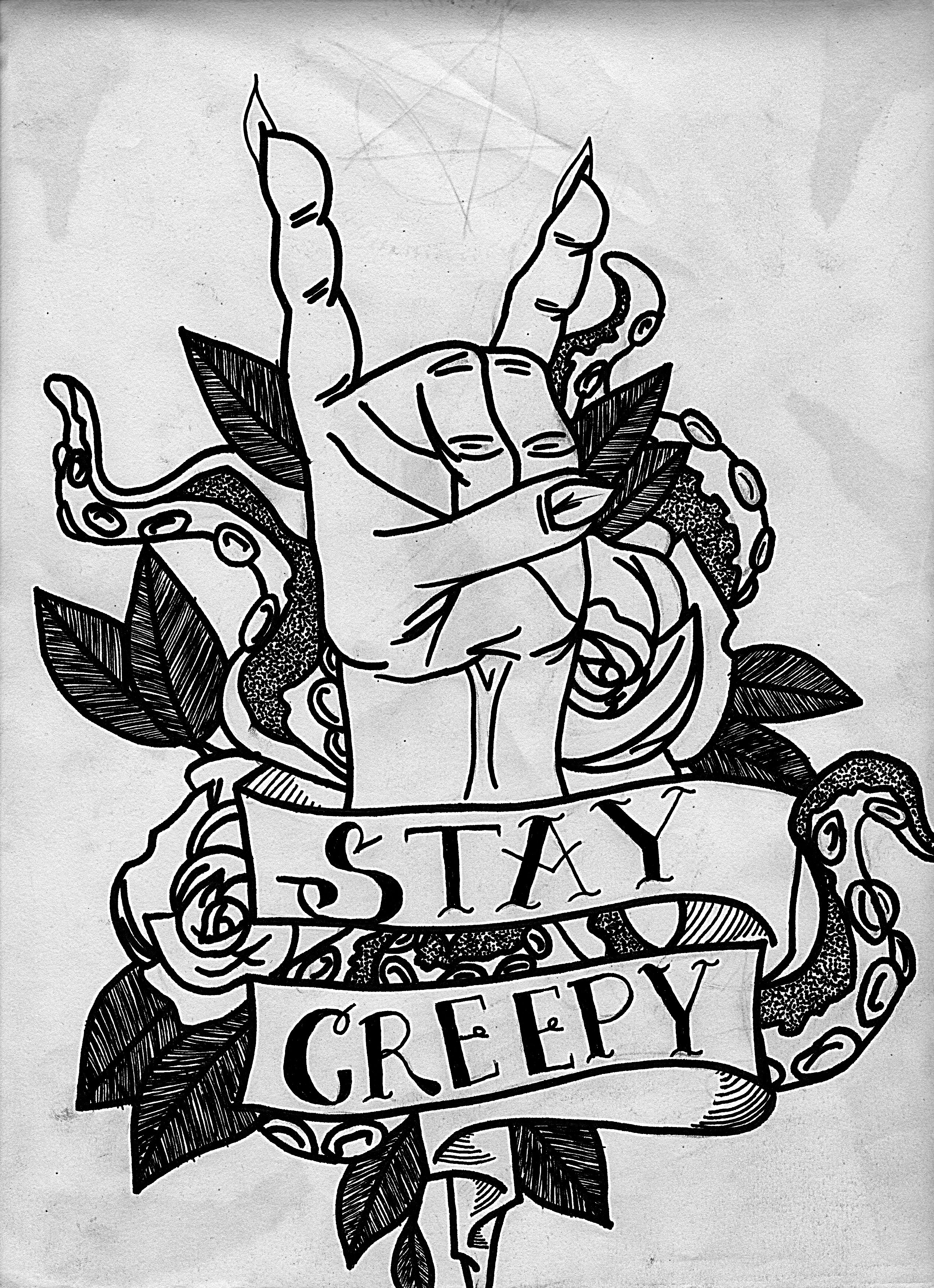 Stay Creepy Trippy Traditional Tattoo Art By