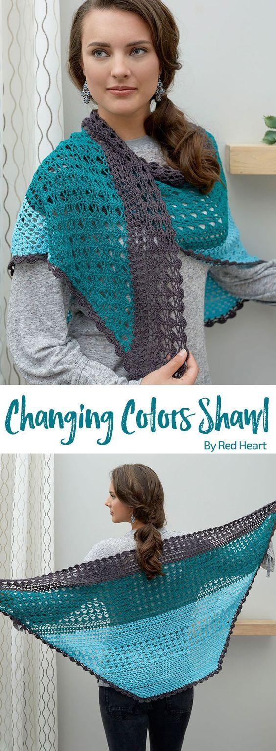 Changing Colors Shawl free crochet pattern in It\'s a Wrap yarn ...