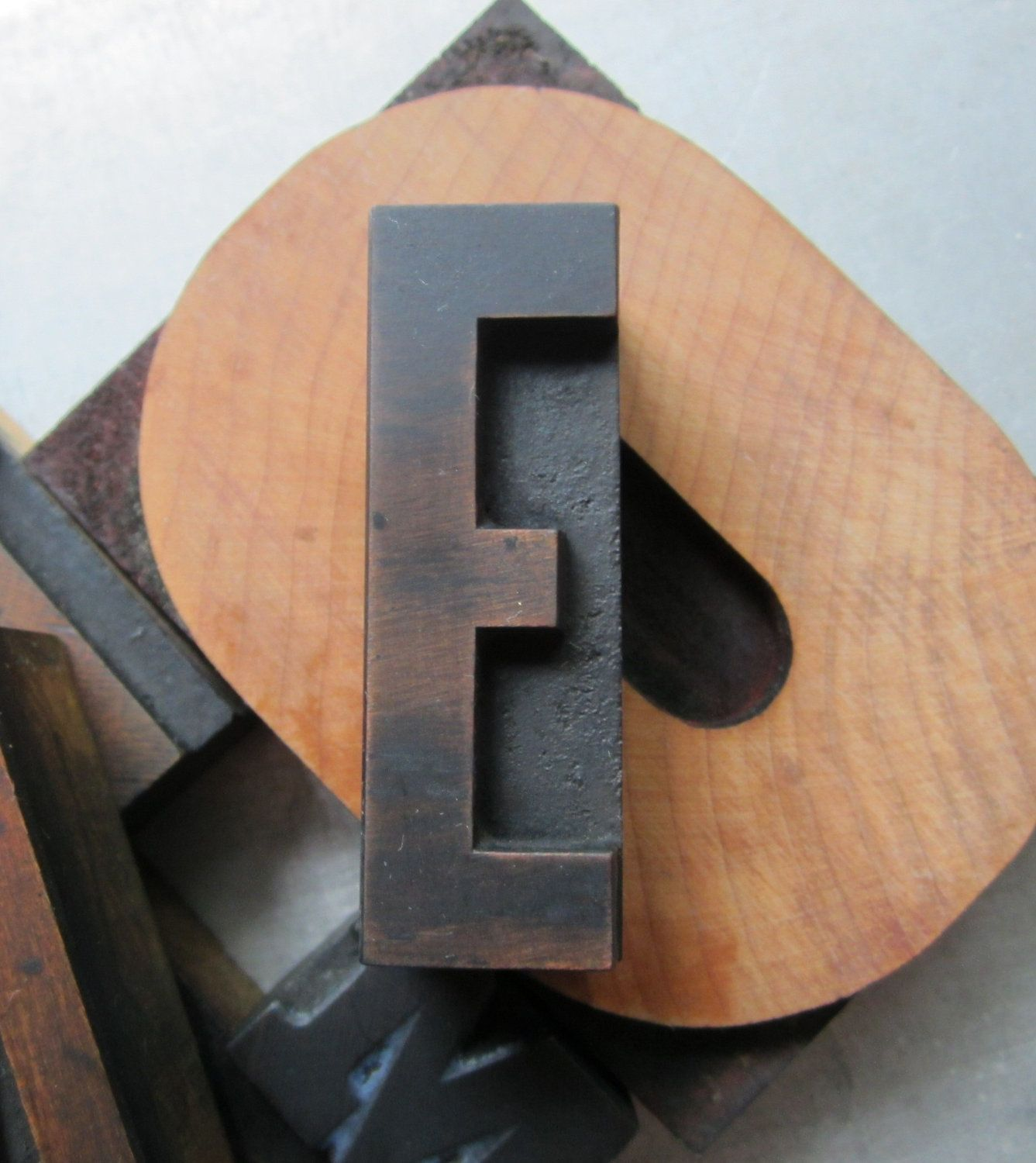 Antique Letterpress Wood Type Printers Block Letter E  Tools