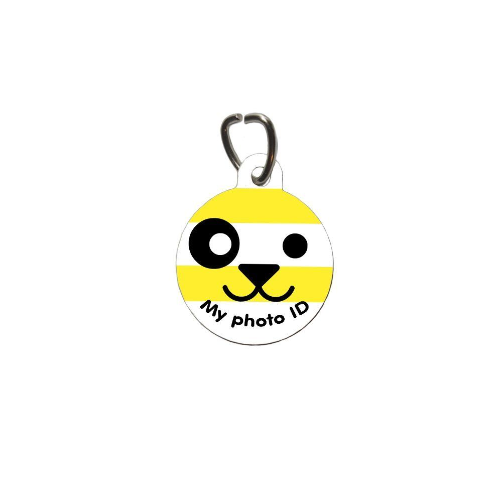 Cute Round Pet Tag Happy Face, Badge for Dogs and Cats by