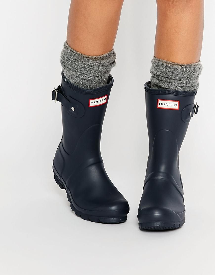 Hunter Original Short Navy Adjustable Wellington Boots at asos.com