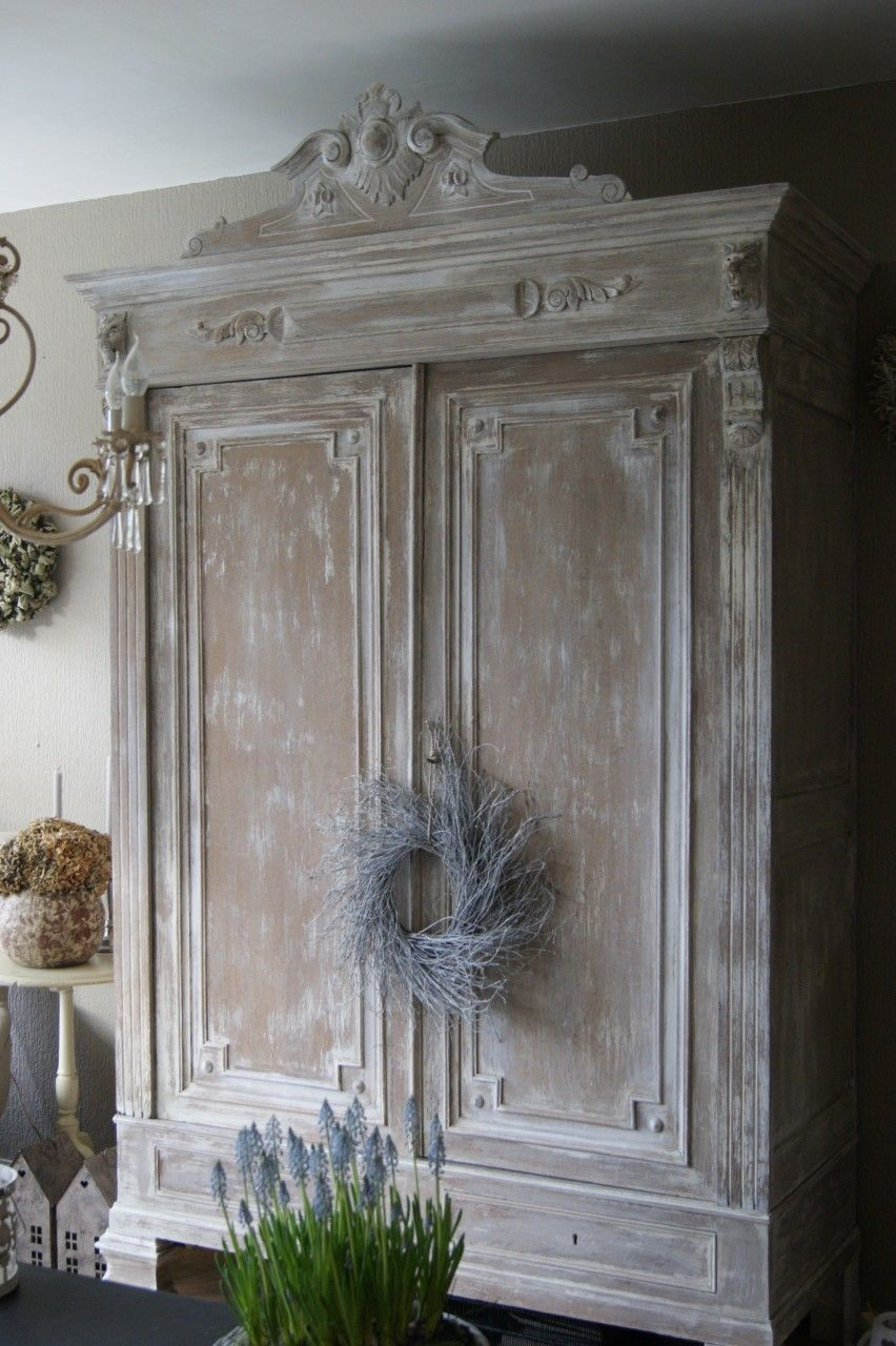 Gustavian Armoire, White Washed Look.