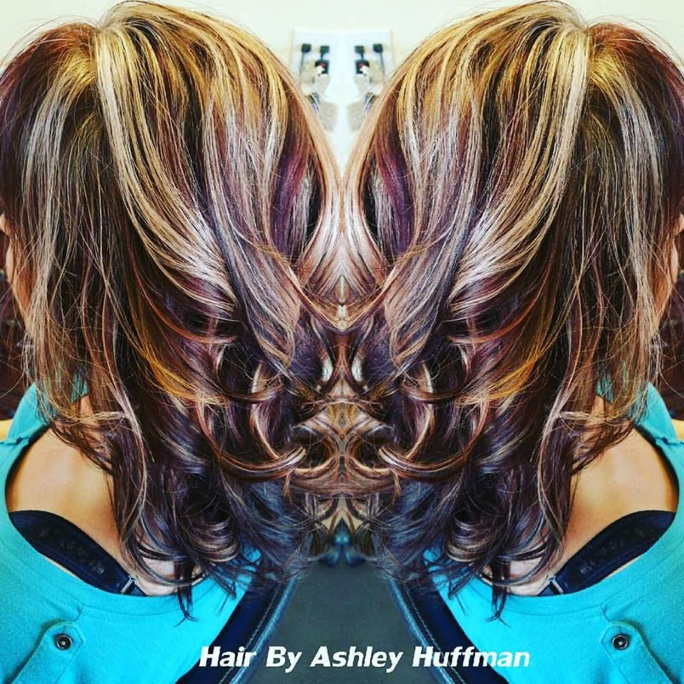 Fun Hair Color Bangs Heavy Blonde Highlights Black Cherry Red