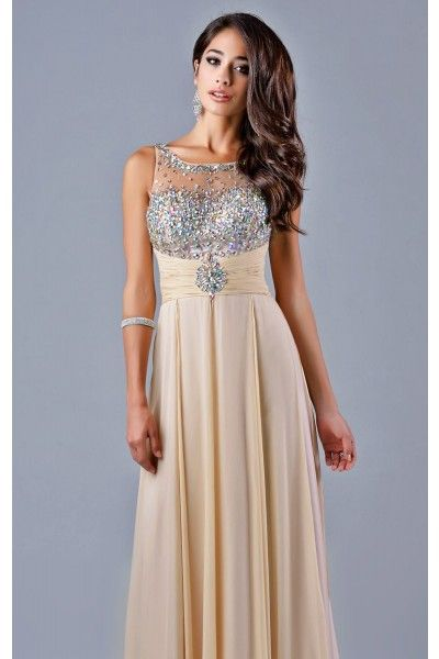 Nude Beaded Sheer Gown Lending Luxury $340 (rent $90) | Prom ...