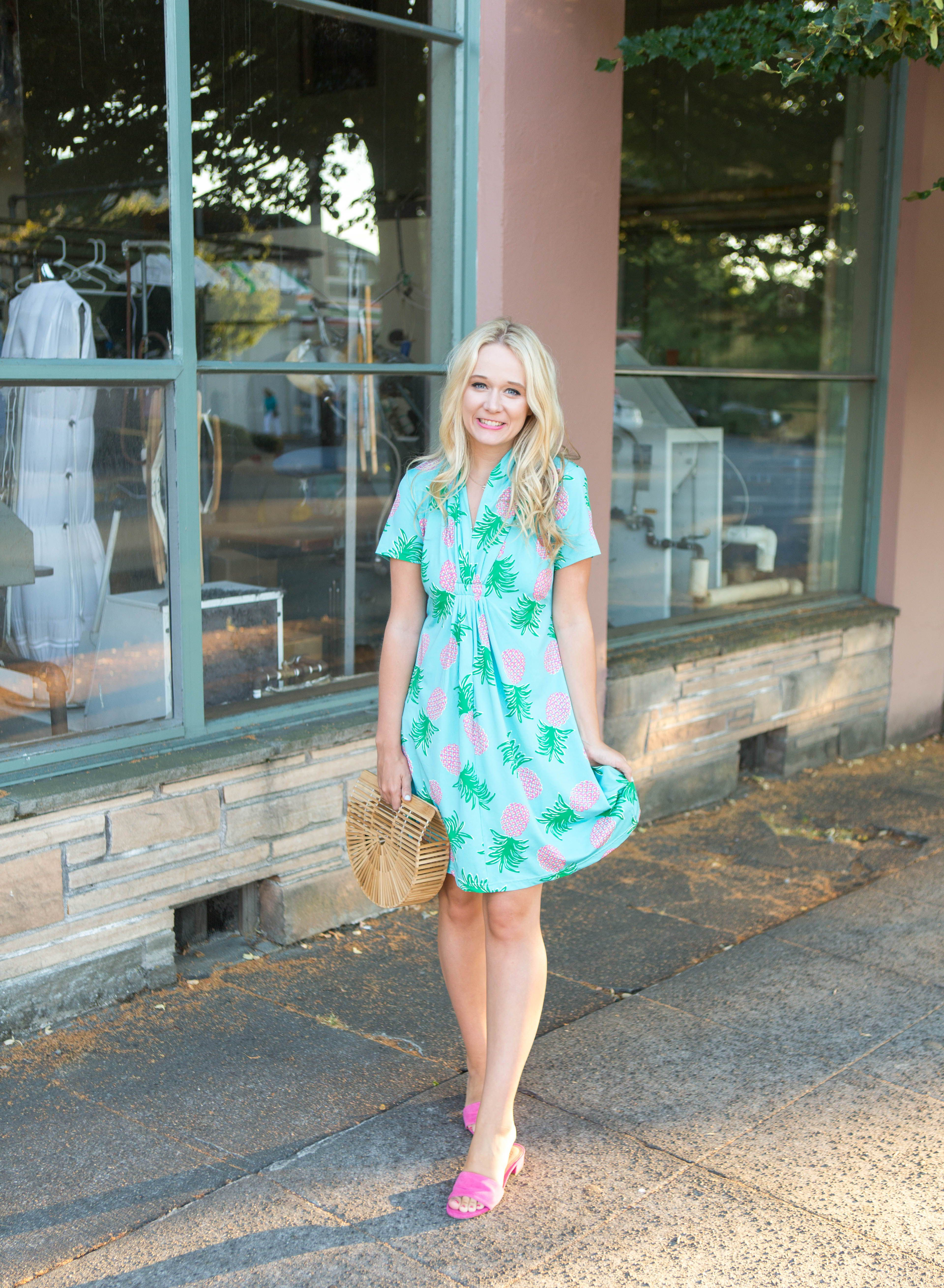 bbfe69fce6c3 Are you looking for a cute and comfy summer dress  It makes for the perfect summer  outfit idea with the pineapple print and pink sandals.