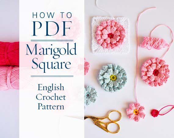 Granny square pattern diy PDF English Crochet Pattern Marigold ...