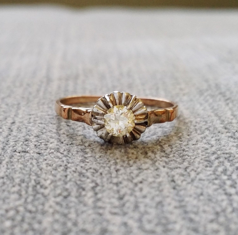 Antique Engagement Ring Old European Diamond two tone Rose White
