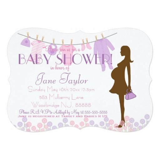 Pink and Purple Silhouette Baby Shower 5x7 Paper Invitation Card