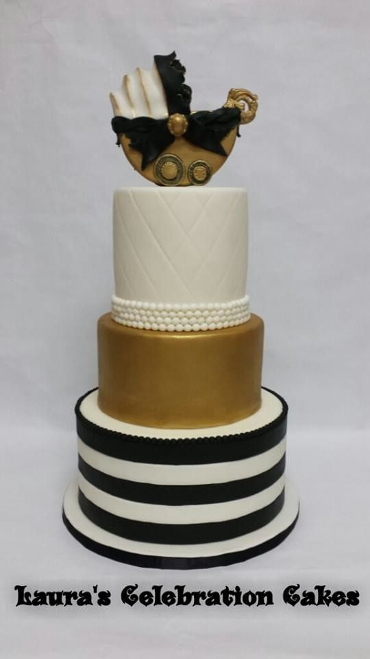 Gold Black And White Baby Shower Cake With Baby Carriage