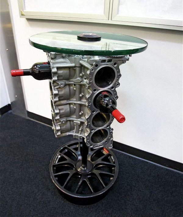 engine block coffee table recycle car part furniture car parts decor  automotive furniture