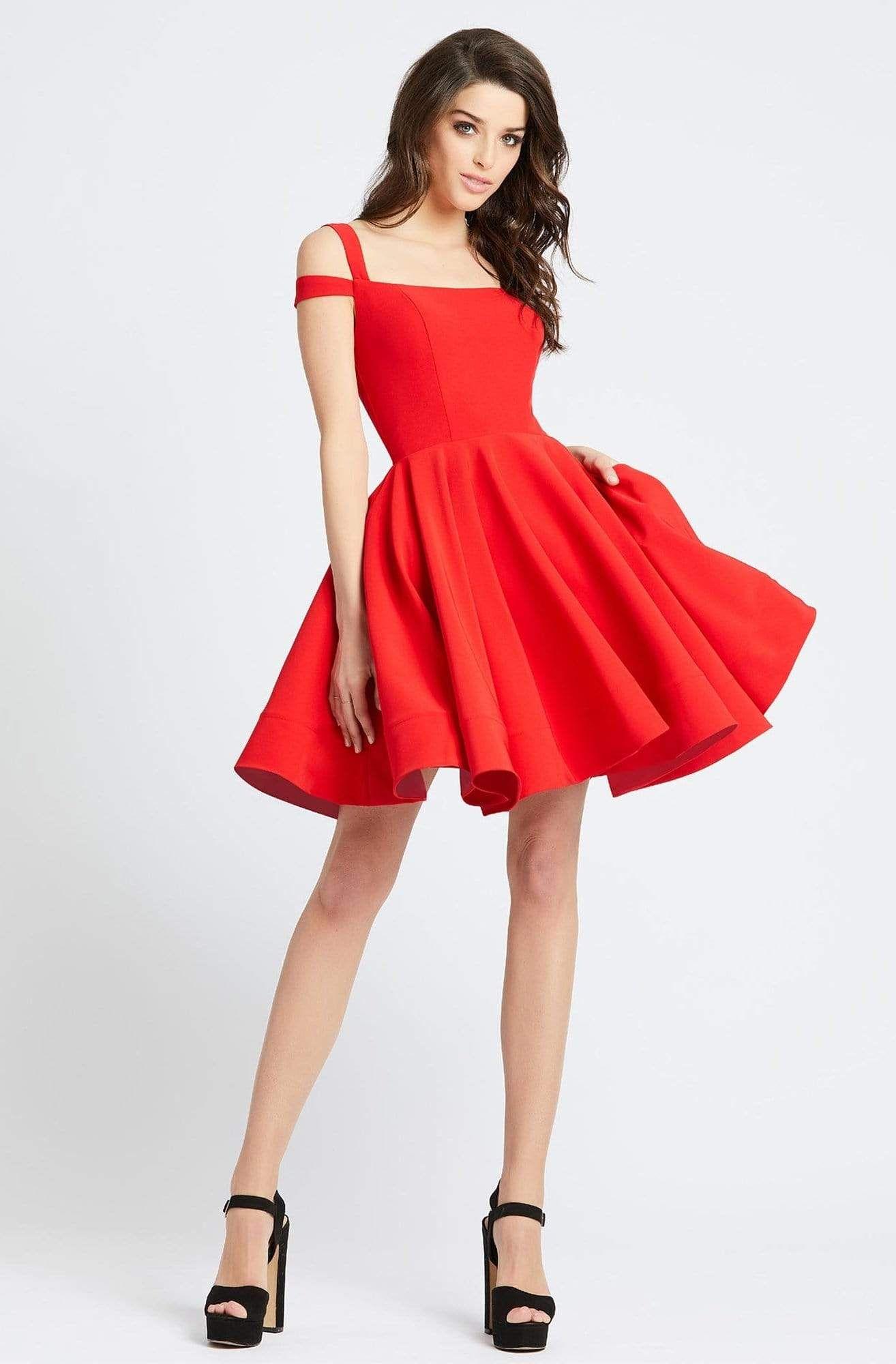 Ieena Duggal 26077i Cold Shoulder Fit And Flare Cocktail Dress Fit And Flare Cocktail Dress Fit And Flare Dress Short Red Prom Dresses [ 2000 x 1314 Pixel ]