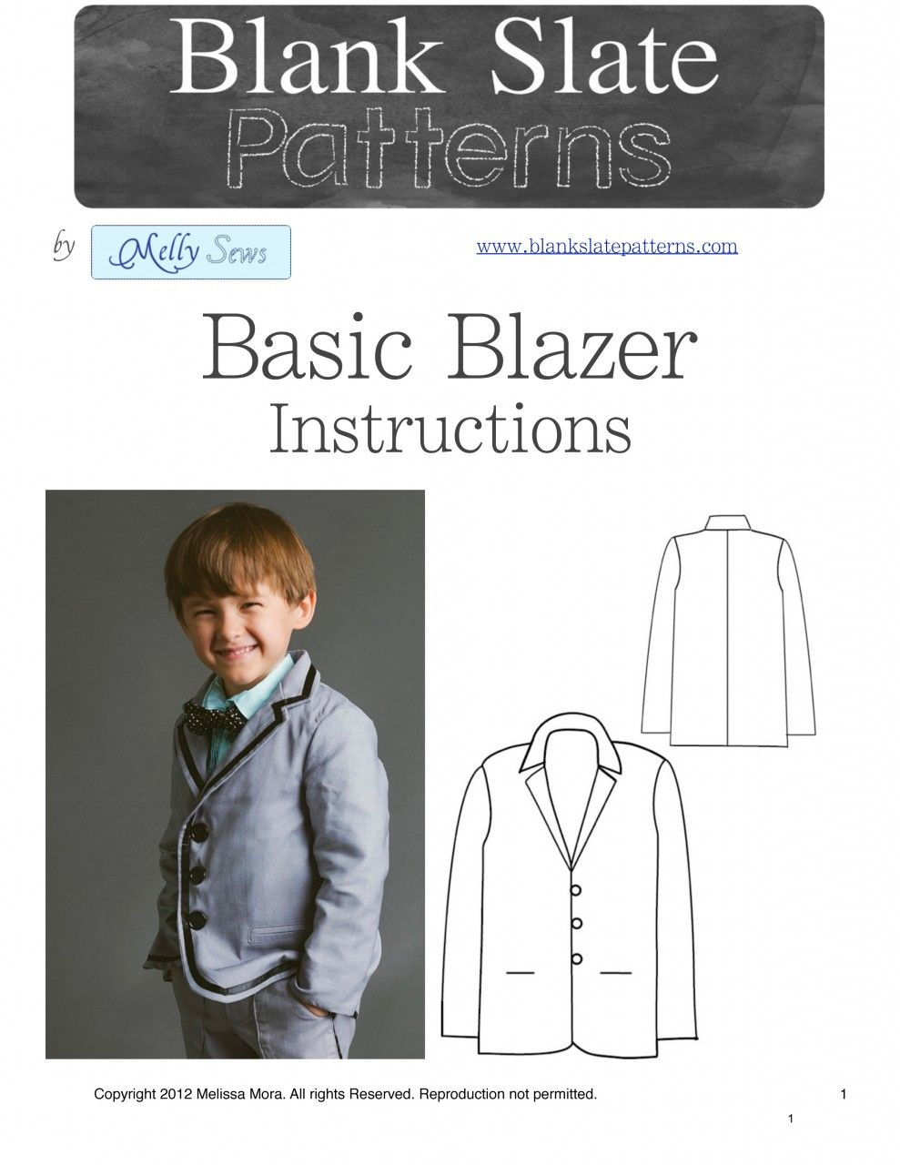 Basic Blazer PDF Pattern 18M to 8 Years by Blank Slate Patterns ...