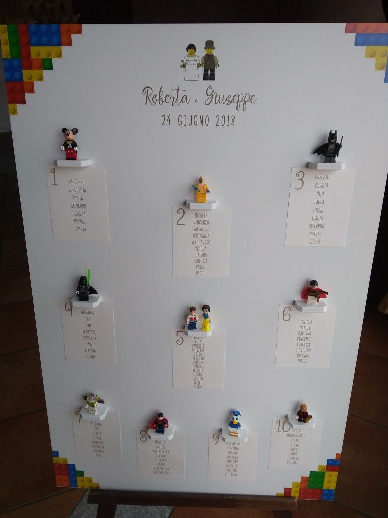 Matrimonio Tema Lego : Tableau mariage tema lego matrimonio wedding