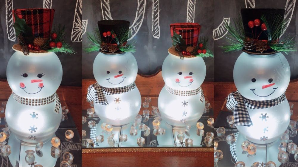 Dollar Tree DIY LIGHTED Mr. & Mrs. Snowmen | Christmas Home Decor - YouTube #Ästeweihnachtlichdekorieren Dollar Tree DIY LIGHTED Mr. & Mrs. Snowmen | Christmas Home Decor - YouTube #Ästeweihnachtlichdekorieren
