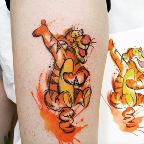 "Photo of Disney Tattoos on Instagram: ""Old school Disney! #tigger #tiger #disney #tattoo #disneytattoo #colour #watercolour #orange #winniethephoo"""