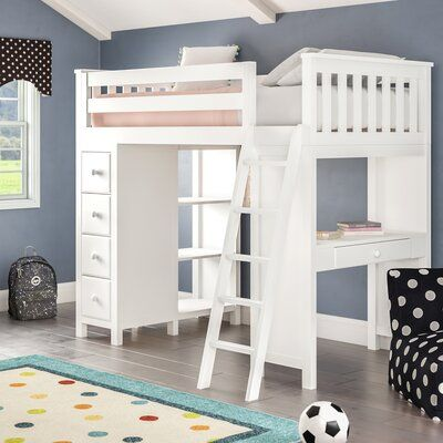 Harriet Bee Ayres Twin Loft Bed With Drawers And Shelves Bed