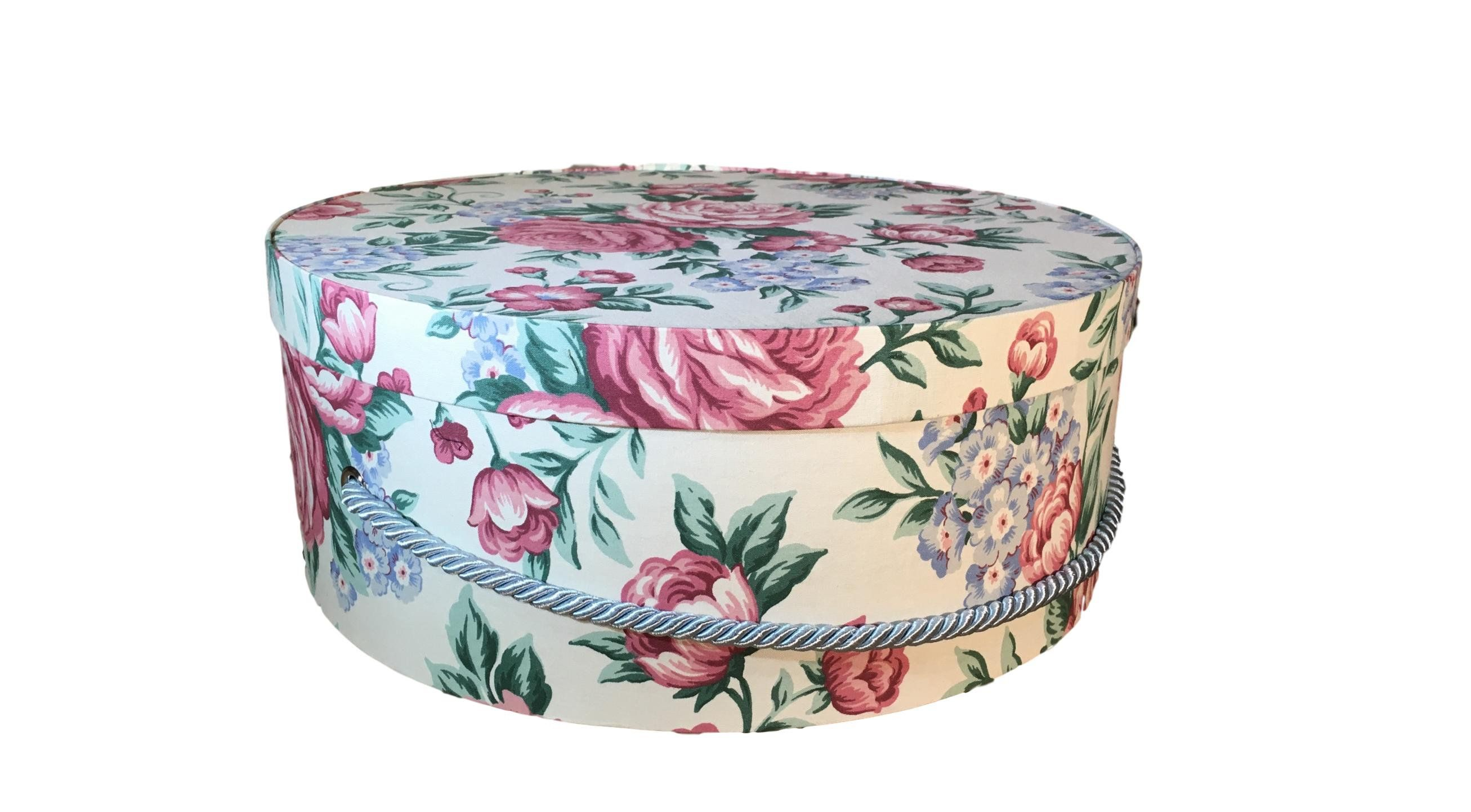 Large 16 Hat Box In Grey French Script Decorative Fabric Covered Hat Boxes Round Storage Box Keepsake Boxes With Lid Ne Fabric Decor Luxury Hats Hat Boxes
