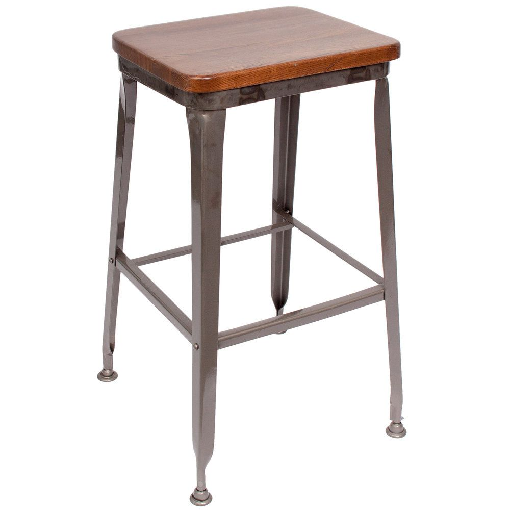 wooden seat bar stools. BFM Seating JS200BASH-CL Lincoln Clear Coated Steel Bar Stool With Autumn Ash Wooden Seat Stools I
