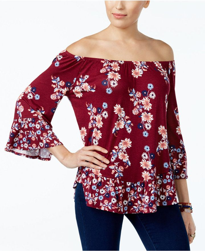 333e7589096 Style Co. Style   Co Petite Printed Flounce-Hem Off-The-Shoulder Top ...