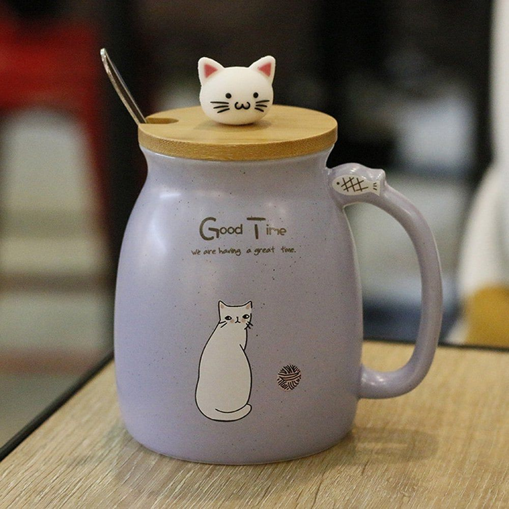 Creative Cat Heatresistant Cup Cartoon with Lid Coffee