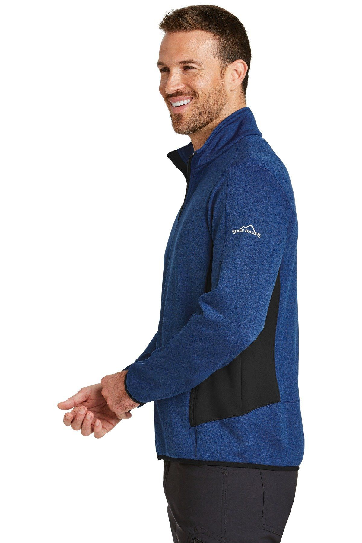 48fbceda976 Eddie Bauer Full-Zip Heather Stretch Fleece Jacket EB238 Blue Heather