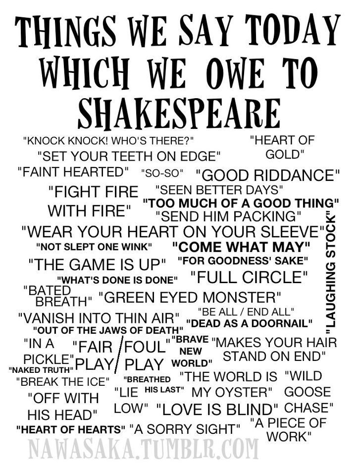 Shakespeare sayings we use today | William Shakespeare | Pinterest ...