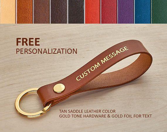 Custom Keychain for Boyfriend, Leather Keychain Monogram Engraved Name Gift for Boyfriend Name
