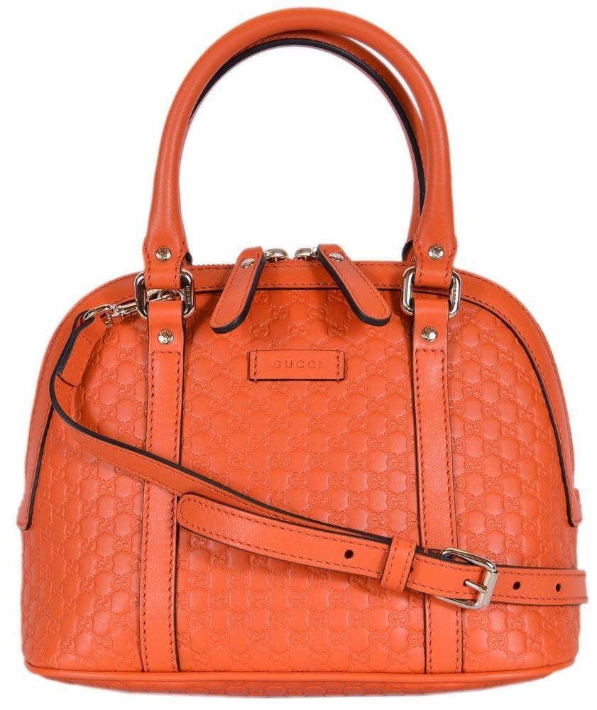 6808c7f796141a NEW Gucci 449654 $995 Micro GG Sun Orange Leather Convertible Mini Dome  Purse #Gucci #Satchel