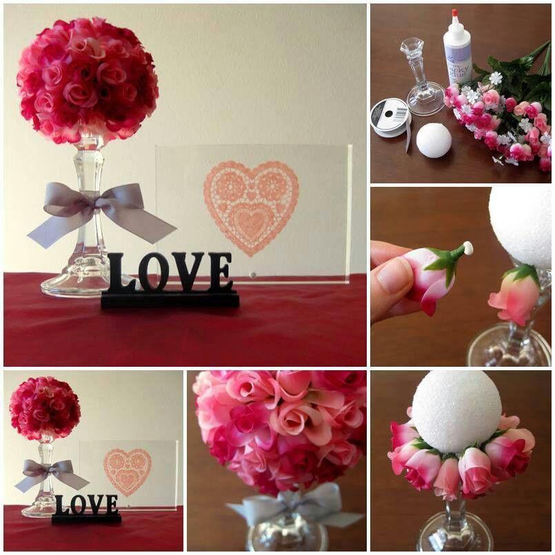 Bola de unicel, flores artificiales y pegamento líquido, para un